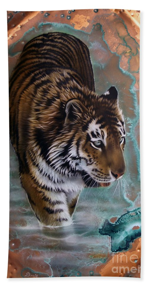 Copper Hand Towel featuring the painting Copper Tiger I by Sandi Baker