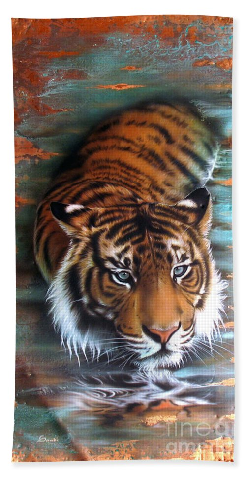 Copper Hand Towel featuring the painting Copper Tiger II by Sandi Baker
