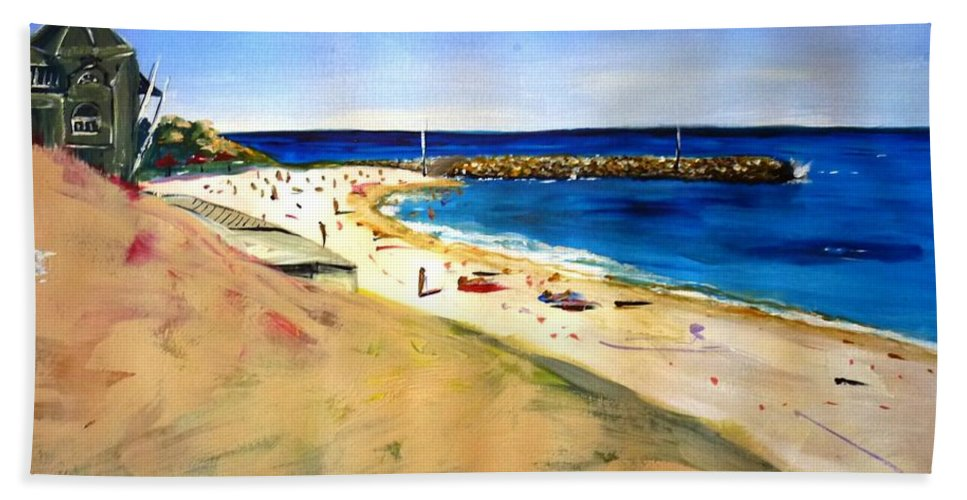 Cottesloe Hand Towel featuring the painting Cottesloe Beach by Therese Alcorn