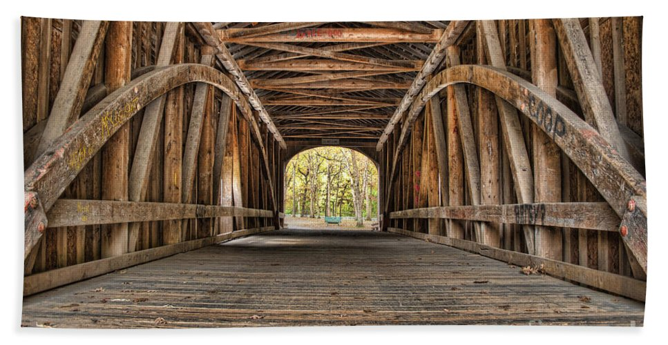 Bridge Hand Towel featuring the photograph Covered Bridge by Scott Wood