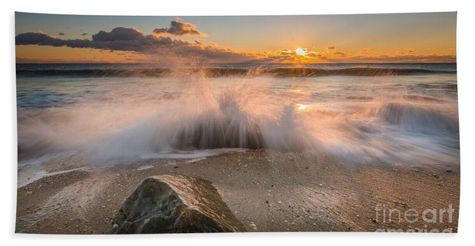 Michael Ver Sprill Bath Towel featuring the photograph Crashing Waves by Michael Ver Sprill