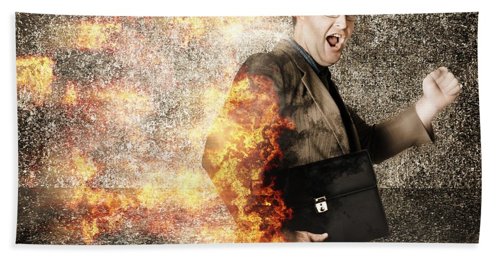Business Bath Sheet featuring the photograph Crazy Businessman Running Engulfed In Fire. Late by Jorgo Photography - Wall Art Gallery