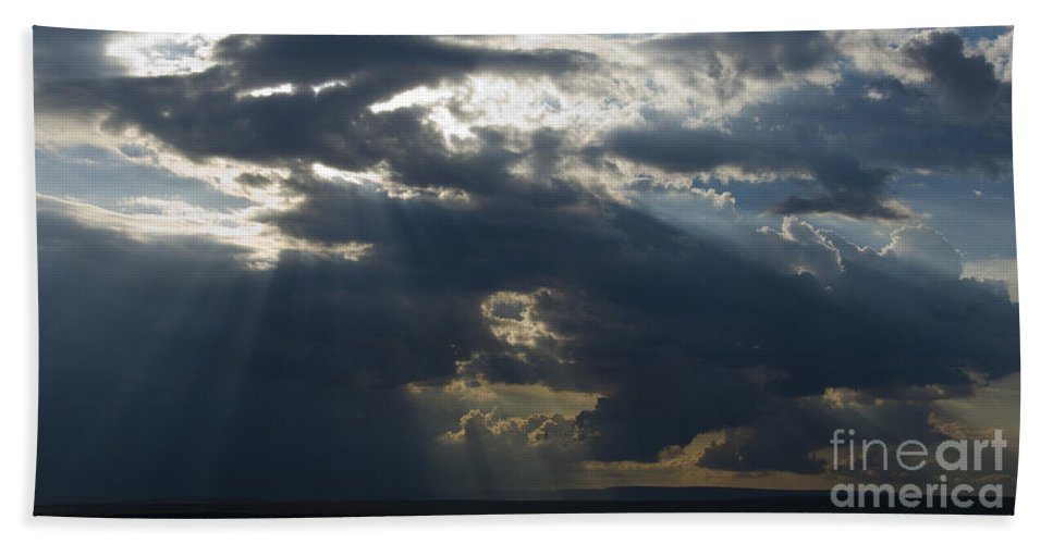 Crepuscular Rays Bath Sheet featuring the photograph Crepuscular Rays by John Shaw