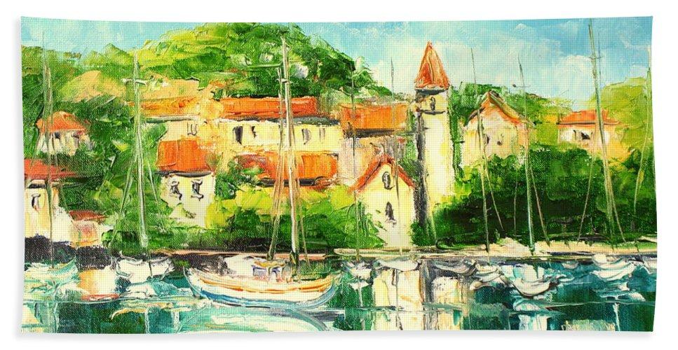 Crotia Bath Sheet featuring the painting Croatia - Split by Luke Karcz