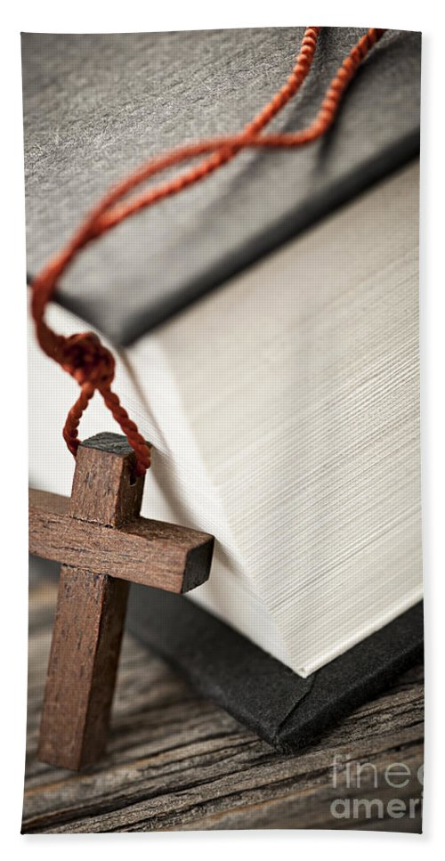Cross Bath Sheet featuring the photograph Cross And Bible by Elena Elisseeva
