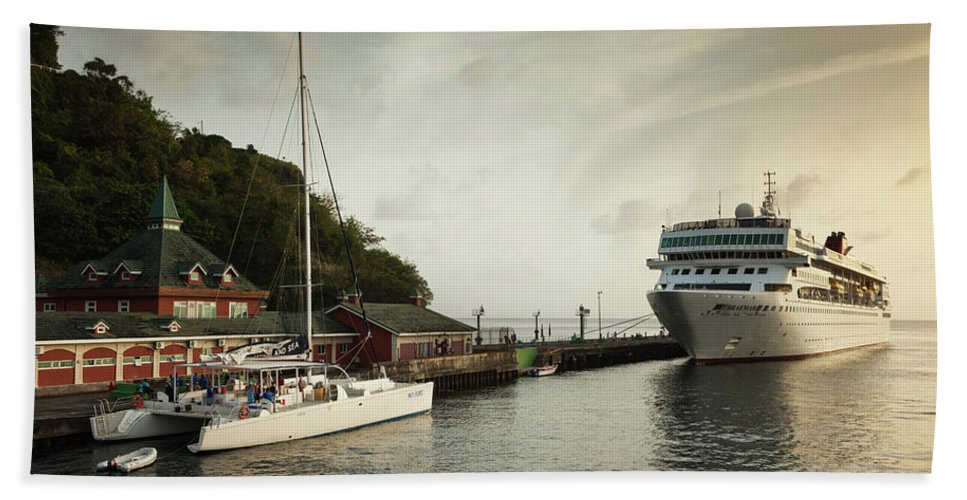 Photography Bath Sheet featuring the photograph Cruise Ship At Port, Kingstown, Saint by Panoramic Images