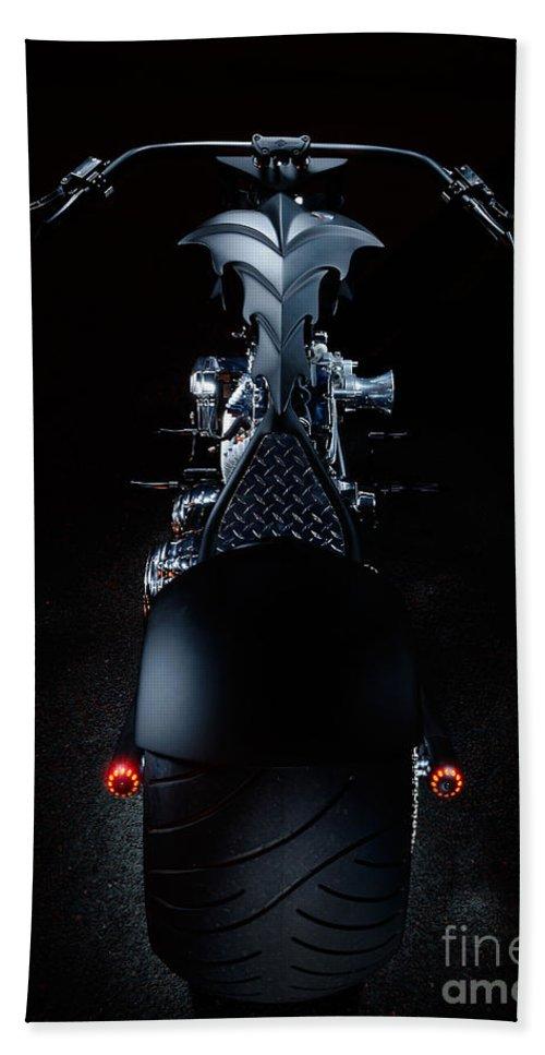 Harley Hand Towel featuring the photograph Custom Chopper by Frank Kletschkus