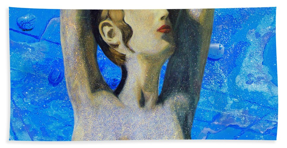 Augusta Stylianou Hand Towel featuring the digital art Cyprus Map And Aphrodite by Augusta Stylianou