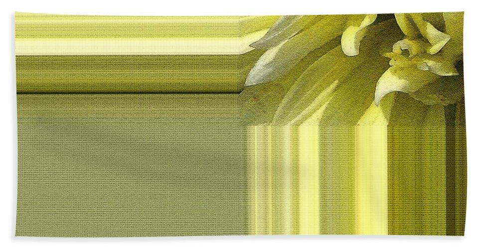 Dahlia Bath Sheet featuring the painting Dahlia Named Canary Fubuki by J McCombie