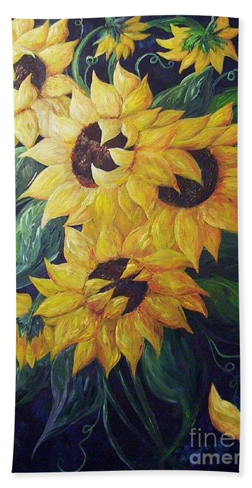 Sunflower Bath Towel featuring the painting Dancing Sunflowers by Eloise Schneider