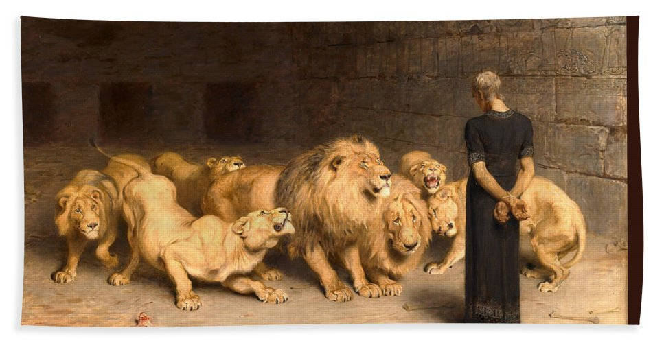 Daniel In The Lions Den Bath Towel featuring the painting Daniel In The Lions Den 3 by Briton Riviere