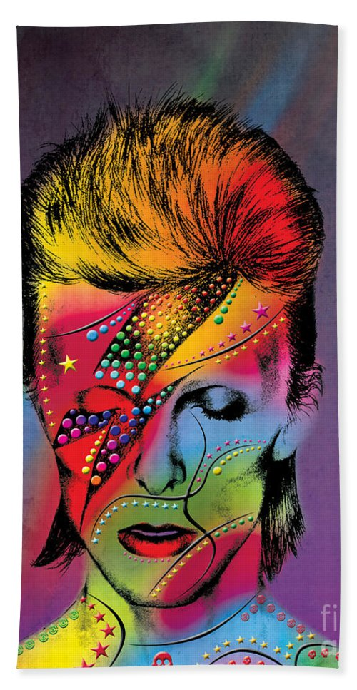 Hand Towel featuring the photograph David Bowie by Mark Ashkenazi