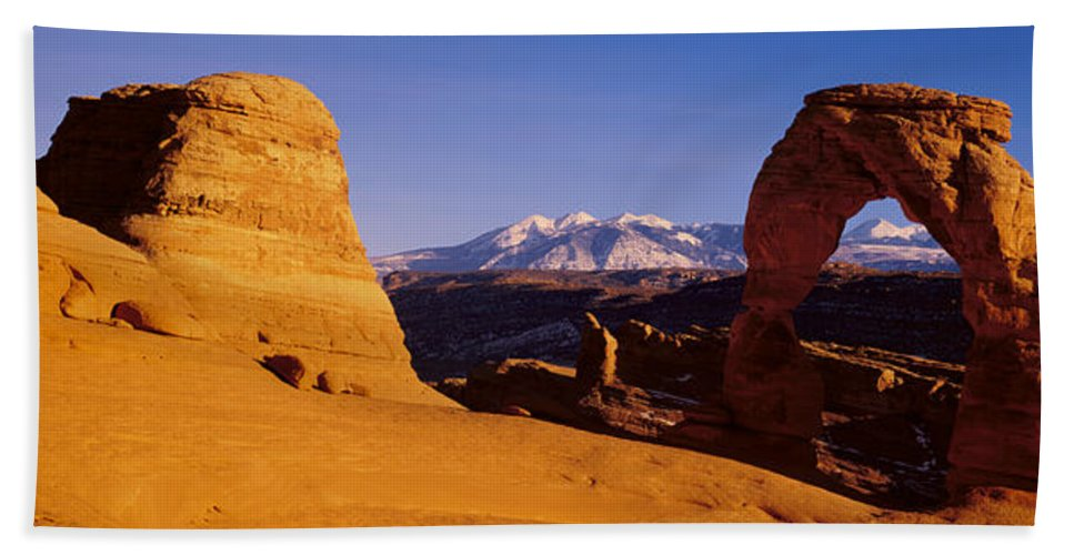 Photography Bath Sheet featuring the photograph Delicate Arch, Arches National Park by Panoramic Images