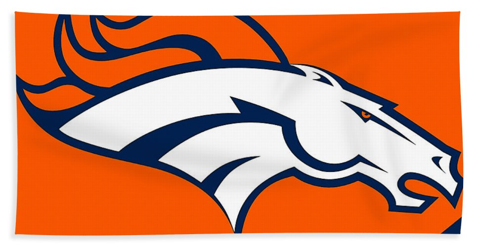 Football Bath Sheet featuring the mixed media Denver Broncos by Marvin Blaine