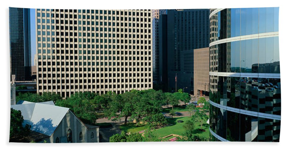 Photography Hand Towel featuring the photograph Detail Of Glass Building by Panoramic Images