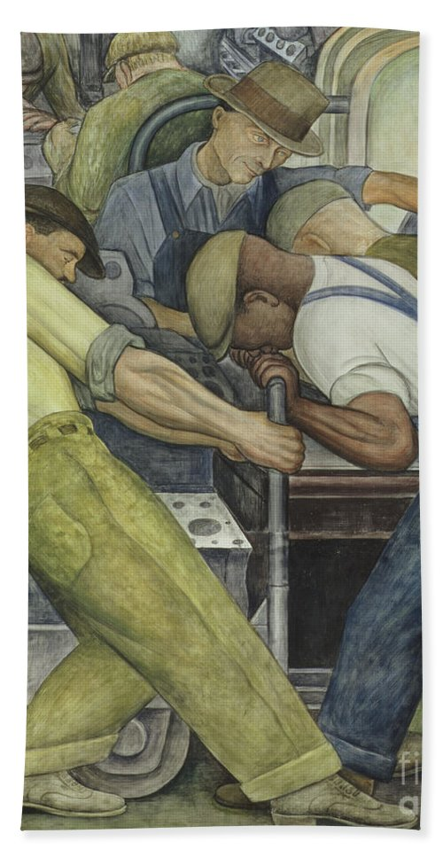 Fresco Hand Towel featuring the painting Detroit Industry North Wall by Diego Rivera