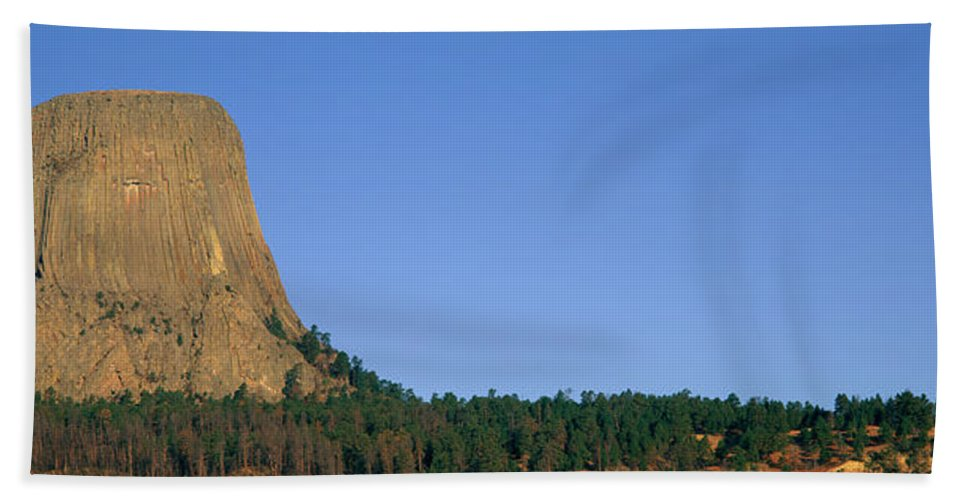 Photography Bath Sheet featuring the photograph Devils Tower National Monument, Wyoming by Panoramic Images