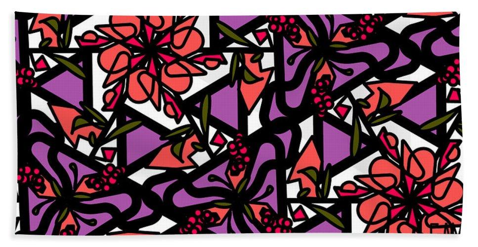 Digi-flora Bath Sheet featuring the digital art Digi-flora by Elizabeth McTaggart