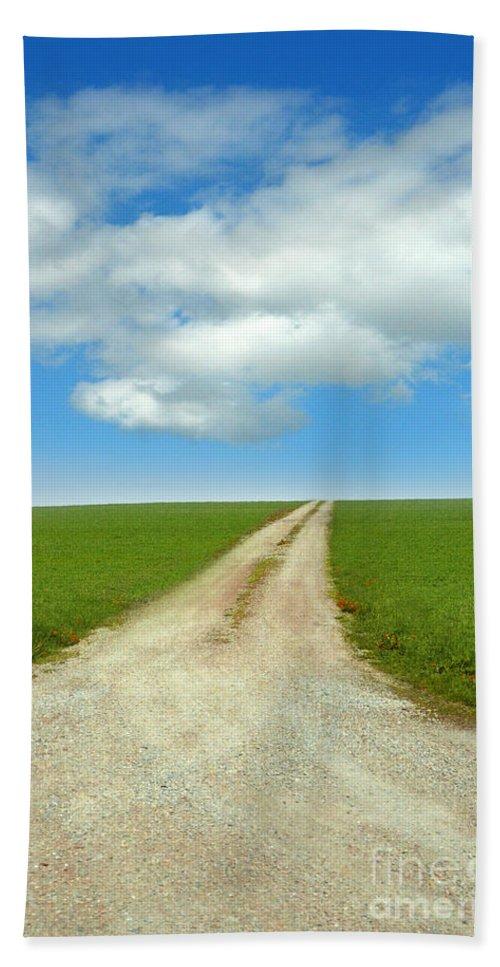 Prairie Hand Towel featuring the photograph Dirt Road by Jill Battaglia
