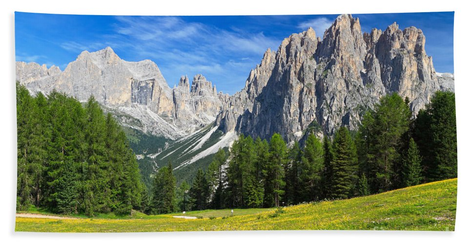 Summer Hand Towel featuring the photograph Dolomites - Catinaccio Mount by Antonio Scarpi