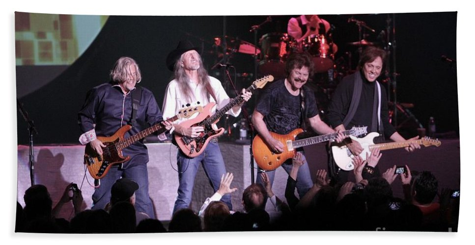 Concert Appearance Bath Sheet featuring the photograph Doobie Brothers by Concert Photos