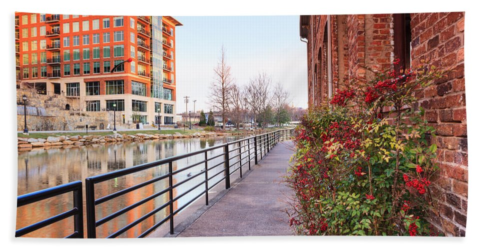 Landscape Bath Sheet featuring the photograph Downtown Greenville Sc by Carol VanDyke