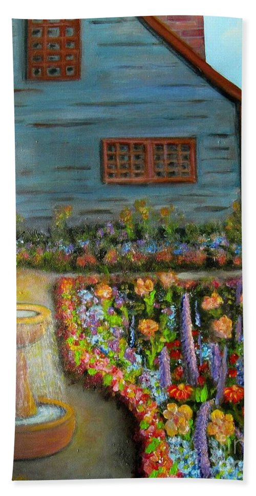 Garden Bath Towel featuring the painting Dream Garden by Laurie Morgan