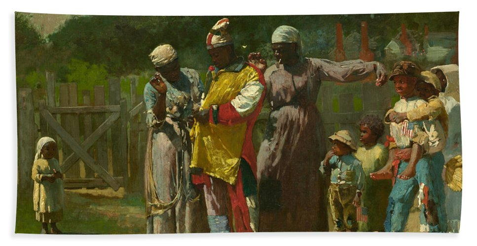 Winslow Homer Bath Sheet featuring the painting Dressing For The Carnival by Winslow Homer