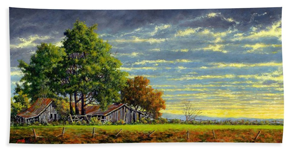 Landscape Bath Sheet featuring the painting Dusk by Jim Gola