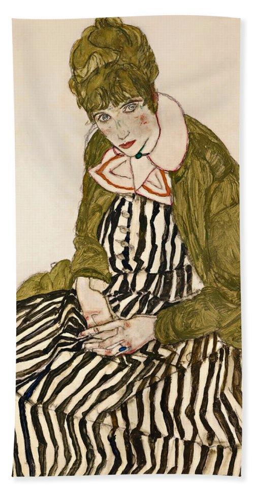Egon Schiele Bath Towel featuring the drawing Edith With Striped Dress Sitting by Egon Schiele