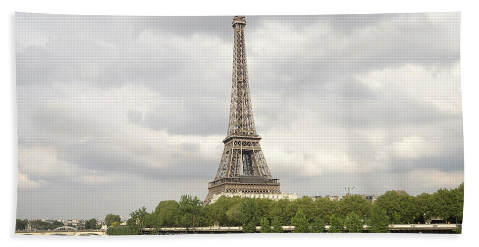 Eiffel Tower Hand Towel featuring the photograph Eiffel Tower And The Seine by For Ninety One Days