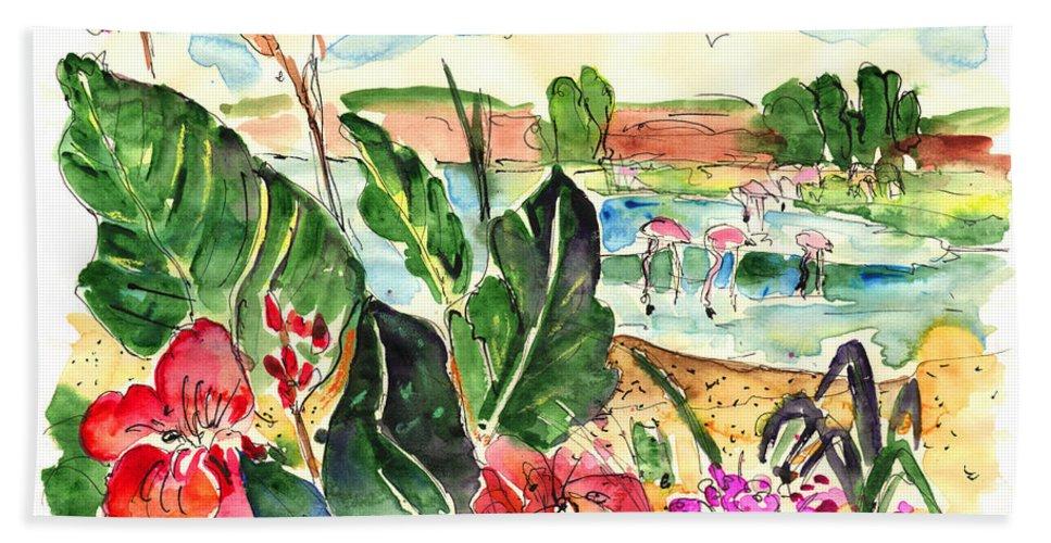 Travel Bath Sheet featuring the painting El Rocio 06 by Miki De Goodaboom