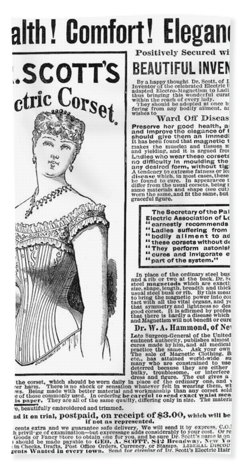 1882 Bath Sheet featuring the photograph Electric Corset, 1882 by Granger