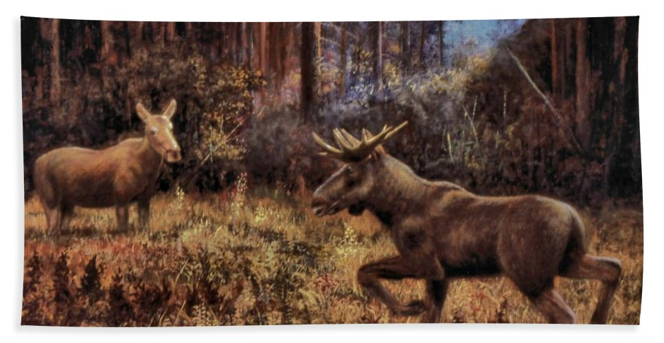 Genio Hand Towel featuring the painting Elk by Genio GgXpress