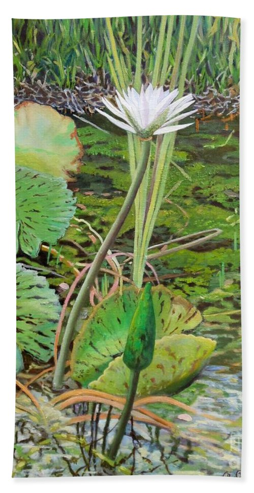 Lily Bath Sheet featuring the painting Emerald Lily Pond by Caroline Street
