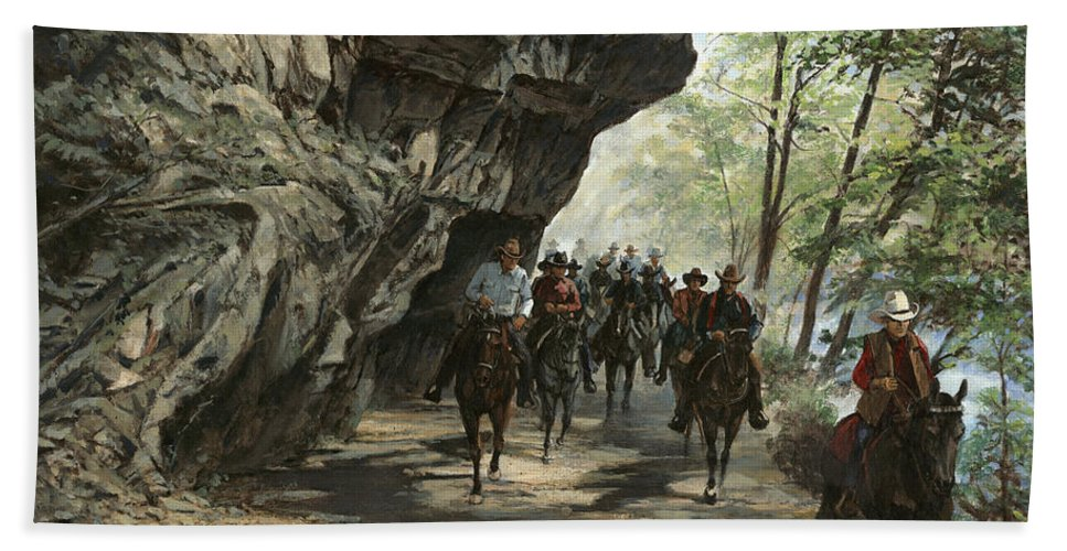 Don Langeneckert Hand Towel featuring the painting Eminence Trail Ride by Don Langeneckert