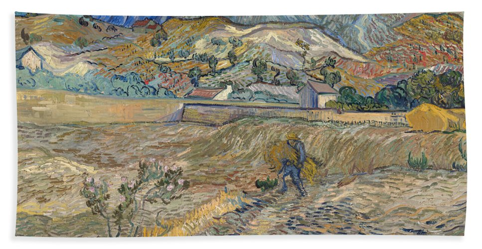 Vincent Van Gogh Hand Towel featuring the painting Enclosed Wheat Field With Peasant by Vincent van Gogh