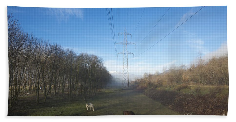 Electricity Pylon Bath Sheet featuring the photograph Energy by Mats Silvan