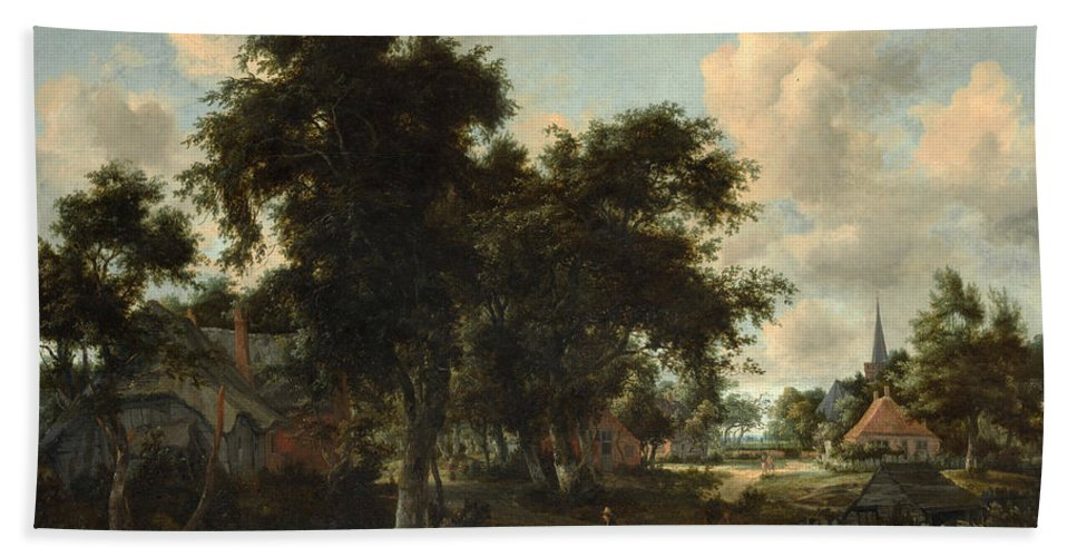 Meindert Hobbema Hand Towel featuring the painting Entrance To A Village by Meindert Hobbema