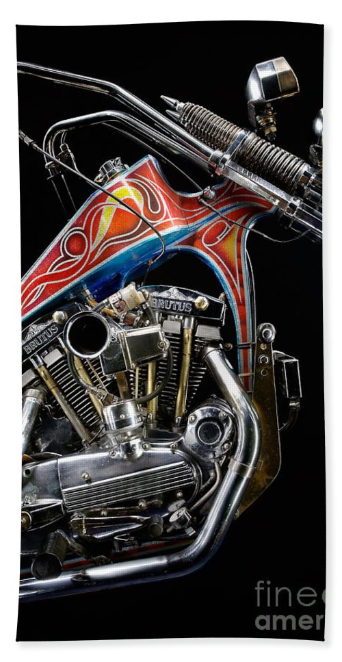 Harley Hand Towel featuring the photograph Evel Knievel Harley-davidson Chopper by Frank Kletschkus