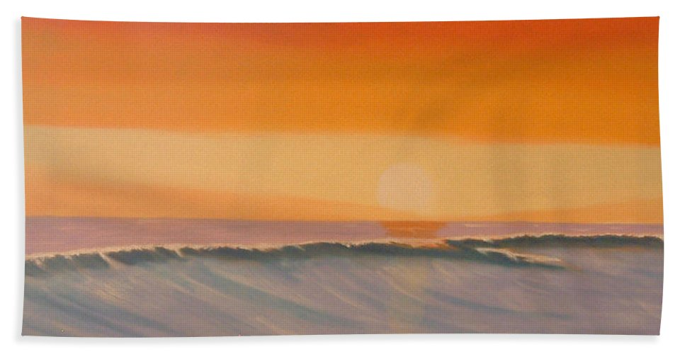 Mission Beach Bath Sheet featuring the painting Evening At Mission Beach by Don Monahan