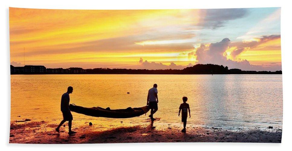 Sunset Bath Sheet featuring the photograph Evening Fire 4 by Kim Bemis