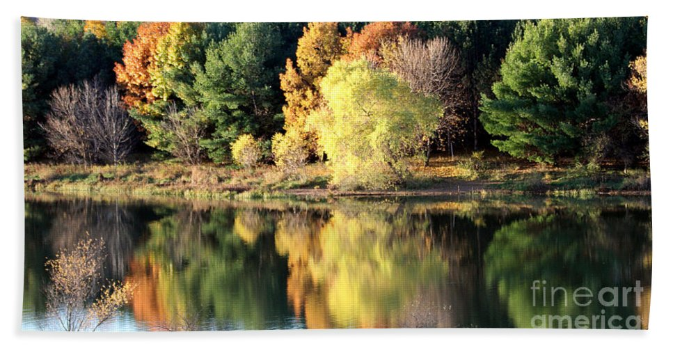 Fall Hand Towel featuring the photograph Fall Reflections by Elizabeth Winter