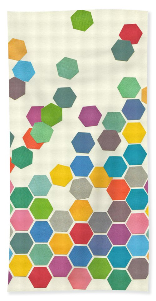 Shapes Hand Towel featuring the mixed media Falling Down by Cassia Beck