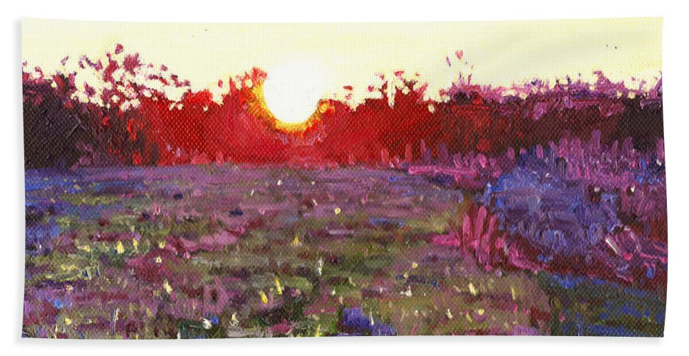 Sun Bath Sheet featuring the painting Farley Sunset by Helen White