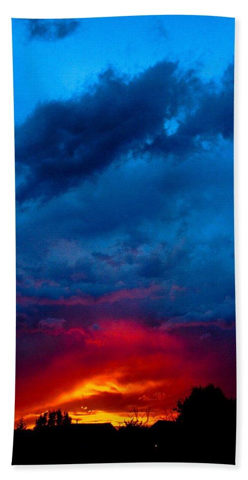 Fiery Bath Sheet featuring the photograph Fiery Sunset by Gaurav Singh