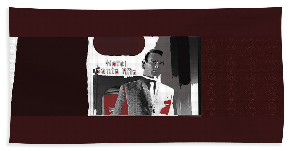 Film Noir David Janssen The Fugitive Santa Rita Hotel Front Xmas Tucson 1963 Color Added 2009 Hand Towel featuring the photograph Film Noir David Janssen The Fugitive Santa Rita Hotel Front Xmas Tucson 1963 Color Added 2009 by David Lee Guss