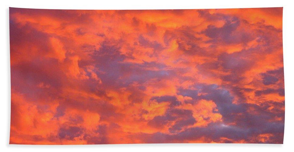 Film Noir Homage Leave Her To Heaven Number 1 Fiery Clouds Casa Grande Arizona 2005 Bath Sheet featuring the photograph Film Noir Homage Leave Her To Heaven Number 1 Fiery Clouds Casa Grande Arizona 2005 by David Lee Guss