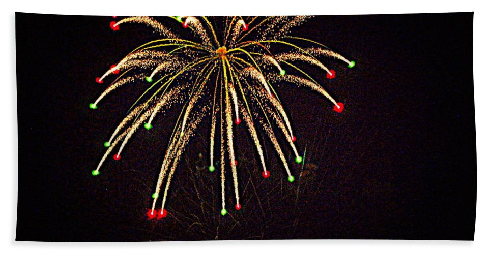 Fireworks Hand Towel featuring the photograph Fireworks In Neon by Scott Polley