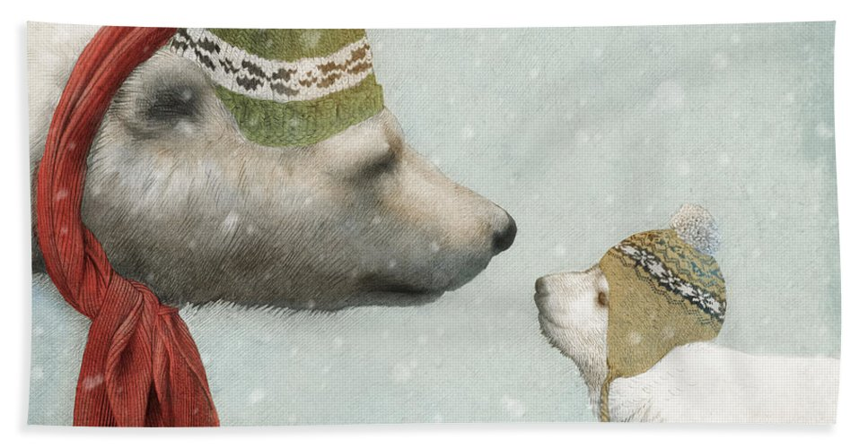 Polar Bear Bath Towel featuring the drawing First Winter by Eric Fan